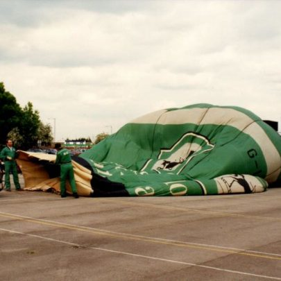 Starting to inflate the balloon.   Janet Dolling