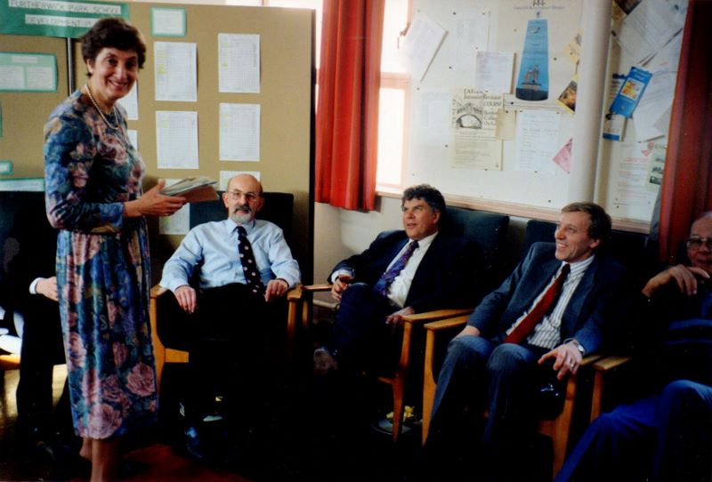 L to R Janet Dolling's retirement, Des Francis, Len Took, Chris Richardson, Fred Jeary. | Janet Dolling
