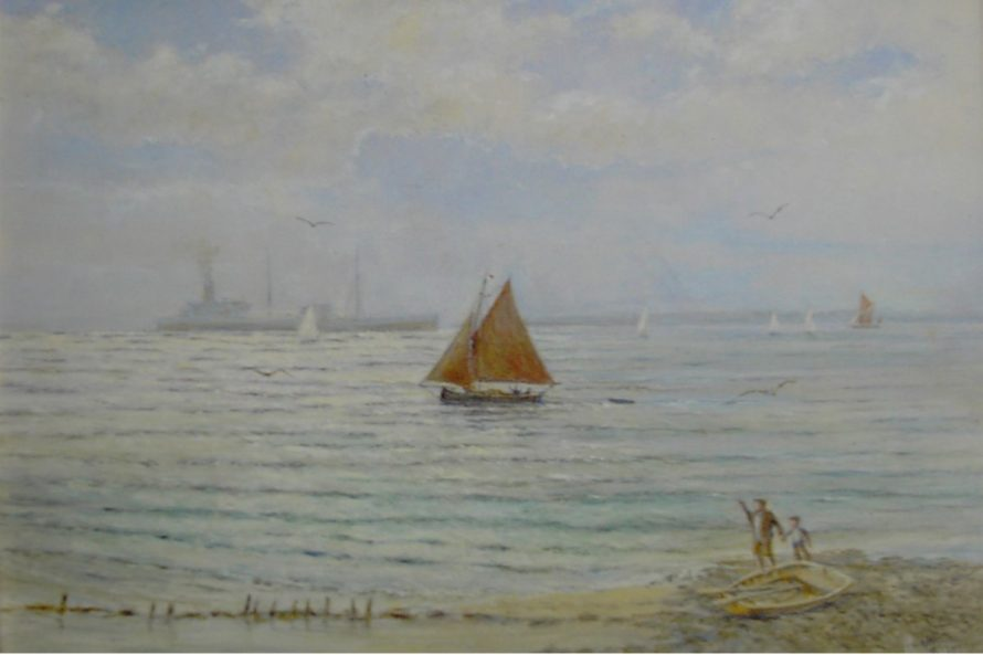 View from the Canvey Beach, Father, possibly Harry? & and son possibly intended to be David watching a small lateen rig fishing boat manoevring in the shallows. 1950s