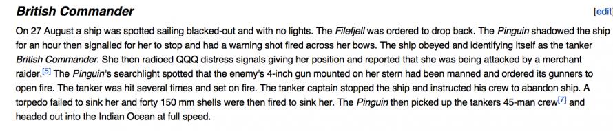 Details of attack by German raider.