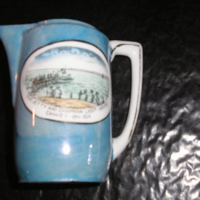 Porcelain Jug Colour Blue lustre Picture  & wording of The Jetty and Chapmans lighthouse  Canvey on Sea Height 4