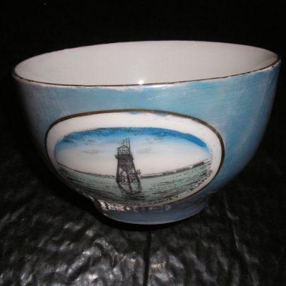 Porcelain Bowl Colour Blue lustre Picture  & wording of Chapmans lighthouse  Canvey Island width 4