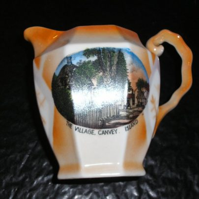 Porcelain Jug Picture on  cup is The village  Canvey Island with wording of the same affect. height 4