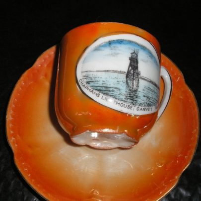 Porcelain Cup & Saucer Picture on  cup is Chapmans Lighthouse Depth of cup 2.5