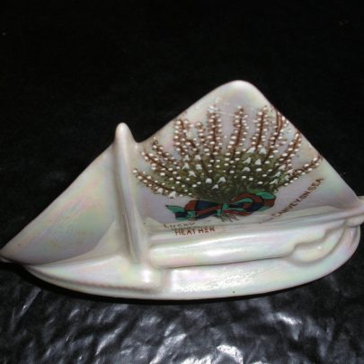 Carlton Ware Porcelain Ship Lucky White Heather From Canvey On Sea Picture & wording Tallest part 4