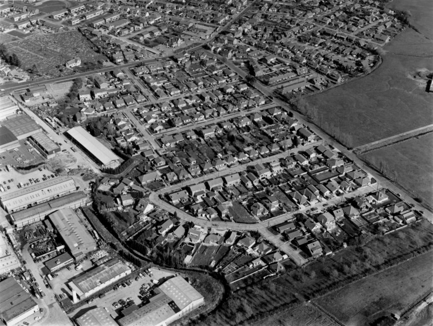 Haven Road with St Katherine's top left and Charfleets Industrial Estate left 1992 | Echo Newspaper Group