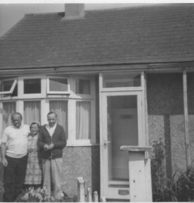 Jack (Jacques Joseph), Reta and her husband John: outside their bungalow on Hindles road, Canvey Island | Julie Burridge