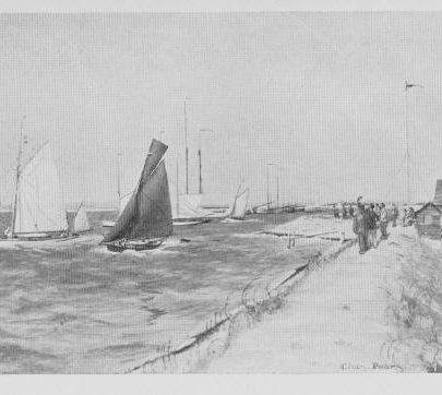 The Lobster Smack and Hole Haven by Charles Pears from his book 'Thames to the Netherlands' 1914