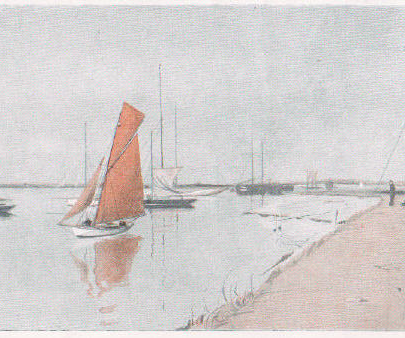 The Lobster Smack and Hole Haven by Charles Pears used in his article for the Graphic, The Saga of a Small Yacht Cruise, July 30, 1910