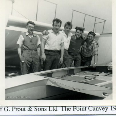1950's: Prout & Sons Staff: Frank Coleman, Dave Abbott, Mike Brown, Derek Gully & Dave Bowen | Thanks to Ian Hawks