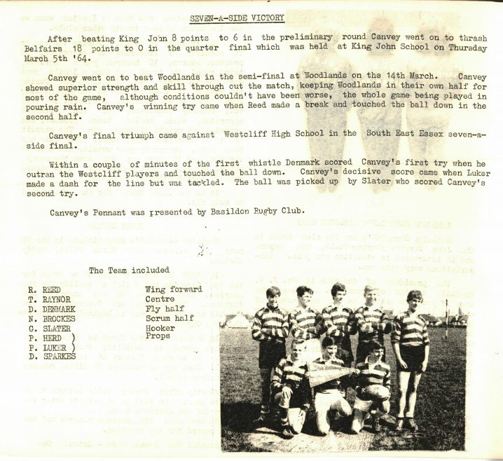 From Furtherwick Park School Archives. The Islander 1964