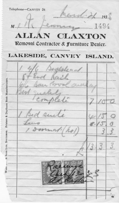 An invoice to Mr Jennings dated 1938 | Mick and Lin Swanson