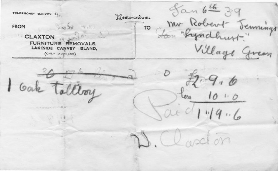 A bill from Claxtons to Lin Swansons' father Robert Jennings dated 1939 | Mick and Lin Swanson