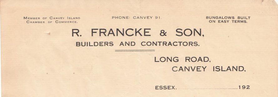 Roland Francke and Son Letterhead