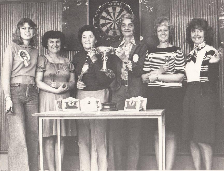 STC darts team in 1983. 2nd from left is Joy Greenwood. | Joy Greenwood