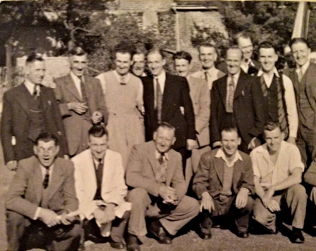 Back row L to R ? Alan Hudson (my Dad)????? Hadley Clair (mgr)? Reg Smith (Gas fitter)Dennis Butters (Gas fitter) Front row L to R .???Roy (clerk) | Gerald Hudson