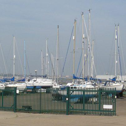 boats at island yacht club.