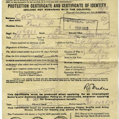 Paul Capser Identitiy Papers - Dispersal 4th Sept 1919 | Thanks to Joan Liddiard