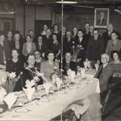 Annual Christmas Dinner at Whittier Hall.Some of the people in the picture are Mrs Dingly, Mrs Mash, Blossom Stevens, Doris and Alf Flaherty, June George, Mr Webb, Vera and Eddie Leigh, Miss Anders, Colin McNail | Doris Flaherty