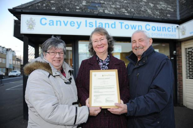 Carol Revell and Janet Walden from the Archive with Martin Tucker Vice Chair Town Council