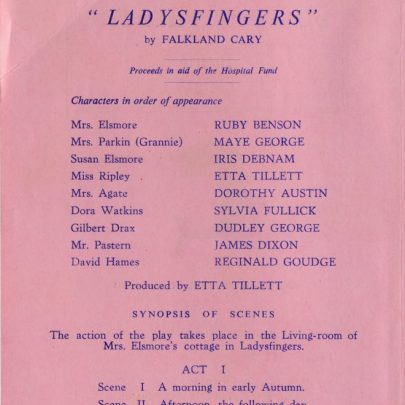 Programme from 'Ladysfinger' | Dudley George