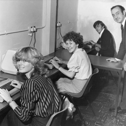 Computers are interesting when explained by Mr Geoff Hughes, training officer. The pupils are Alison Underwood, Maresa O'Callaghan and Anthony Haining. Taken September 1983   Echo Newspaper Group