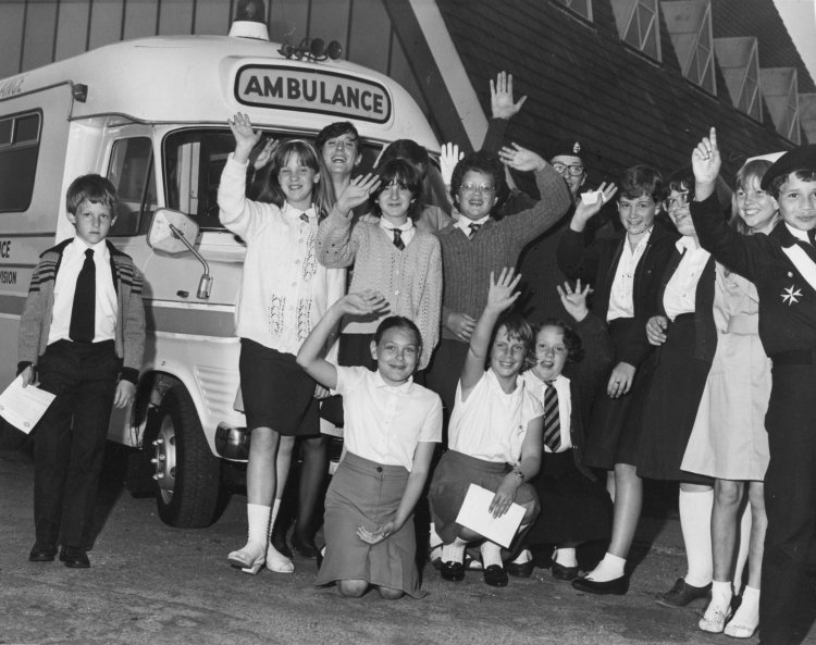 St John Cadets with the ambulance outside St Nicholas Church. | Echo newspaper group and the Rayleigh Town Museum
