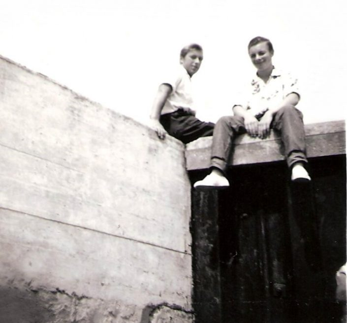 Yours Truly Pictured Sitting on Canvey Sea Wall around 1959/60 with big brother (by 9 years) to the left | Peter Wonnacott
