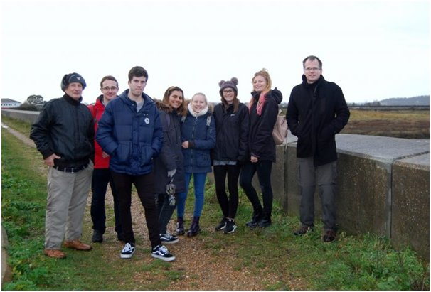 Graham with the students and Tom Ball on the seawall.