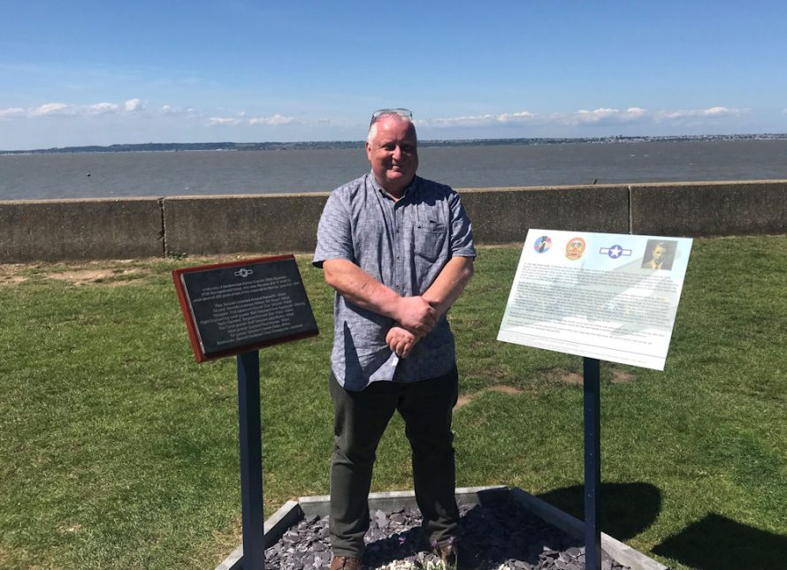 Geoff Burke at the site. Is that Canvey I see in the distance? | Noel Tognazzini