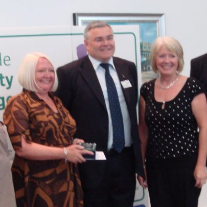 Accepting the Regional Winners Award on behalf of the Canvey Community Archive. Janet Penn, Sue Hampson and Barbara Roycroft | Sue Hampson