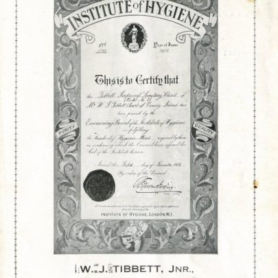 The certificate dated 1926