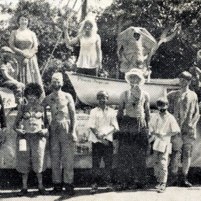 Although no topless dresses turned up at the Carnival there was a topless man (second from the left) who was part of Canvey Sea Anglers' carnival float