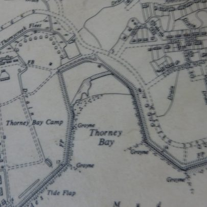 1950's map showing the first damming of the creek and it is now called Thorney Bay
