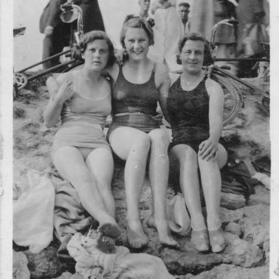 Canvey Beach pre 1953. Sister Nellie, friend Enid and sister in law Lily. Late 1940's | Marjorie Parks