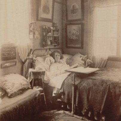 Polly in bed in the annex at Edwin and Gertrude's house before her remarkable recovery | George Milford