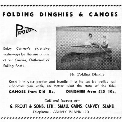 Advert for the Prout Folding Dinghies and Canoes