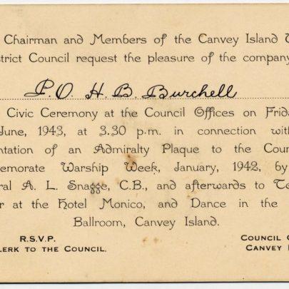 Invite to H B Burchell to the Civc Ceremony 18th June 1943 | H B Burchell