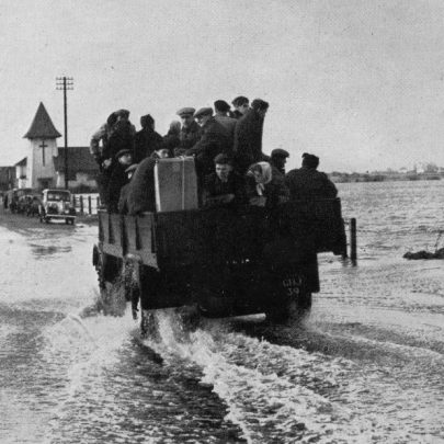 A lorry load of evacuees leaving Canvey Island