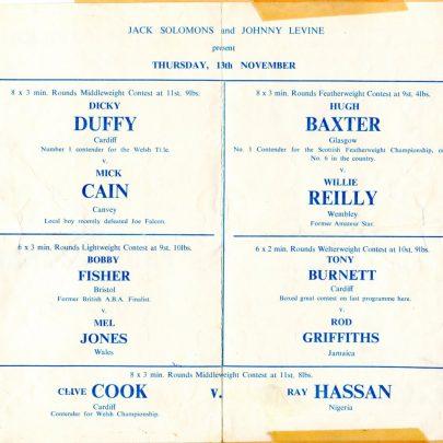 Programme from Cliffs Pavilion   Mick Cain