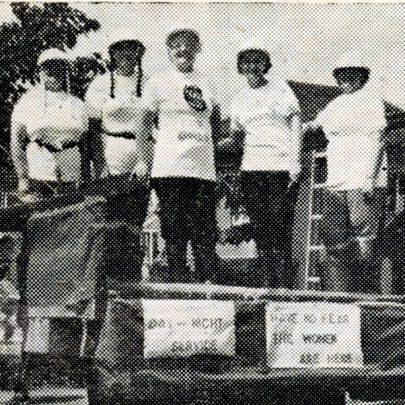 The only fire engine in the carnival! Canvey Labour Party's fire girls on their carnival float on Saturday.