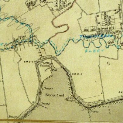1930's map showing the seawall in its original place and Thorney Creek and saltings