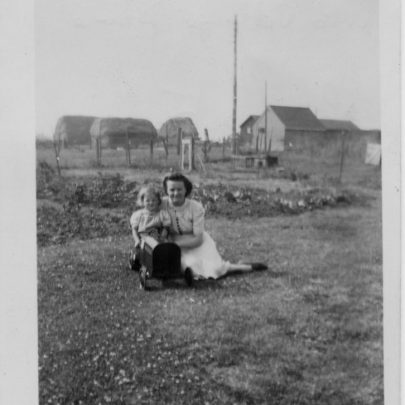 Barbara and her mother at 15 Green Avenue looking towards Village Drive with Cooks Farm in the Background | Barbara Everett