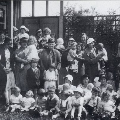 Mothers and childrens group at Whittier Hall in the 1930's