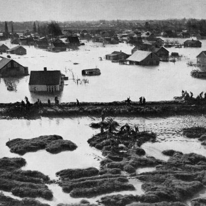This picture taken from a special plane, shows the scene of devastation at Canvey Island
