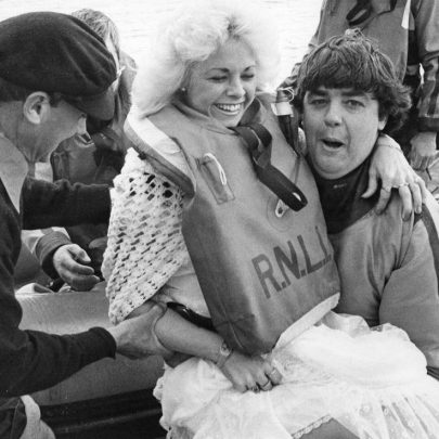 1984 Zena Robertson and Peter Hyam. Peter is helping Zena to board the Percy Geron life boat