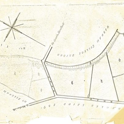 Plan of area dated 1872. Upside down to compare with other map.
