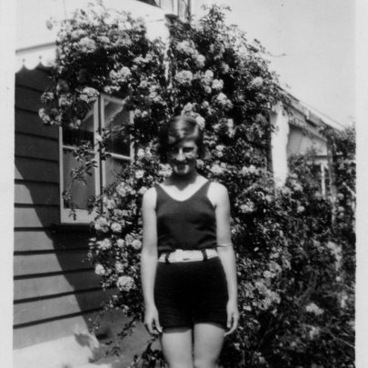 Marjorie Parks nee Holt aged 12 in the gardens of 'Tarry a while' Dovercliffe Road | Marjorie Parks