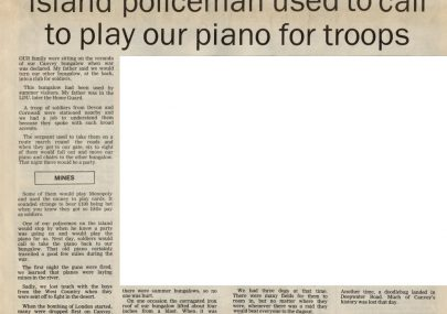 Island policeman used to call to play our piano for troops