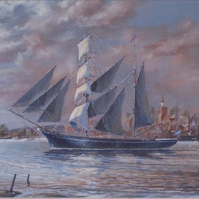 A sailing ship off Maldon painted by Denys. The painting was presented to Ian Hawkes on his retirement from the Halcon group 1987 | Ian Hawkes